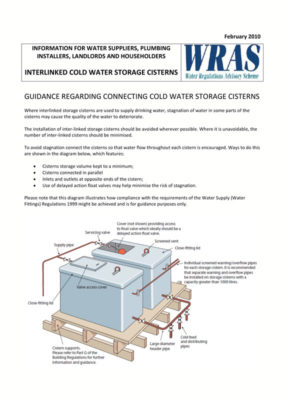 CONNECTING COLD WATER STORAGE CISTERNS